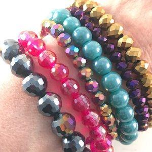 Stretch Bracelets 6 Set Iridescent Beaded Banlgles